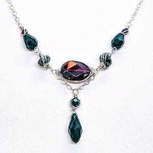 Garnet, hematite, blk.crystal & sterling  necklace